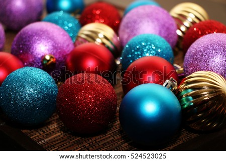 Many multicolored Christmas balls