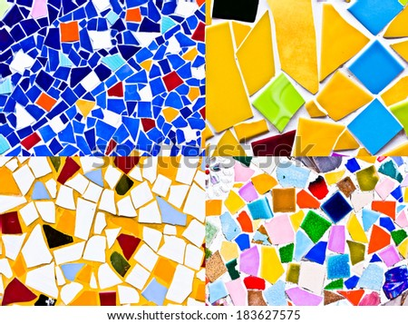 many multicolored small tiles abstract pattern background - stock photo