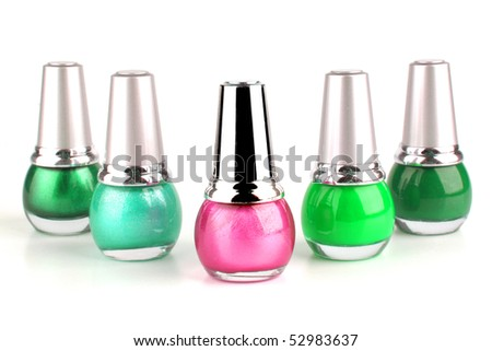 many new nails polish on white background