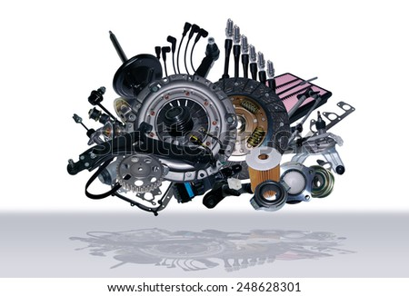 Many new spare parts for a car. - stock photo