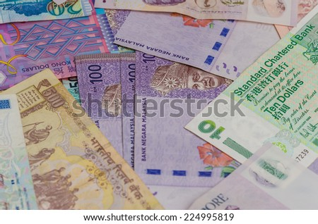 Many of asian currency, close up