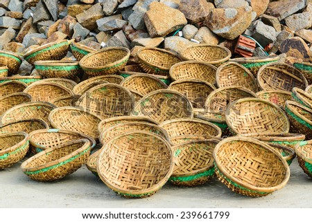 Many of baskets exposed to the sun on seacoast, fishing village Long Hai, Vietnam, Southeast Asia - stock photo