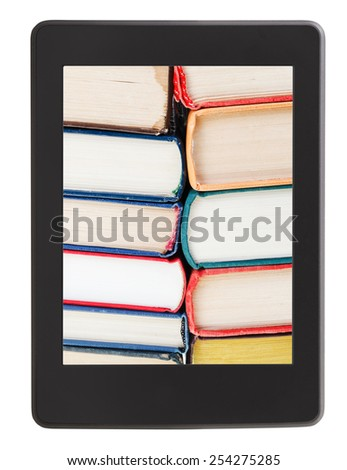 many of books on screen of e-book reader isolated on white background - stock photo