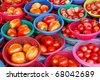 many of fresh tomato in basket in fresh market , Asia , Thailand - stock photo