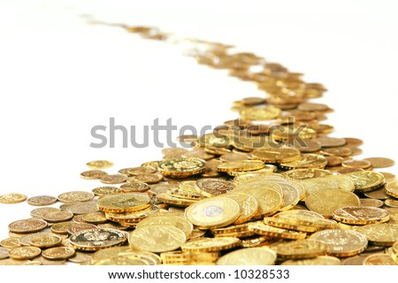 many of gold coins making curved path - stock photo