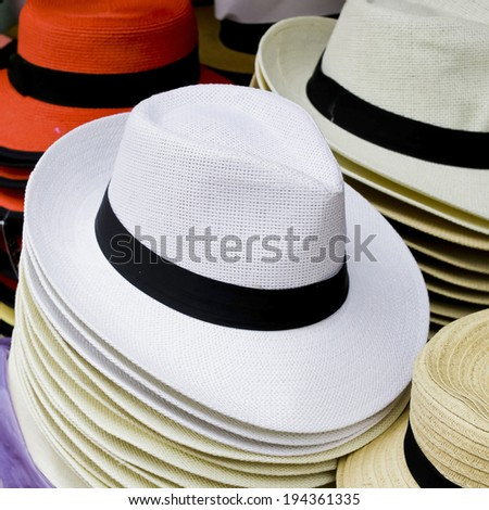 Many of hats for lady - stock photo