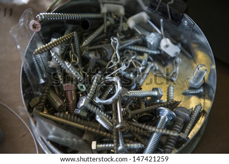 Many of nails and nuts
