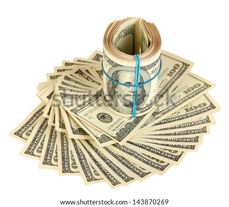 Many of one hundred dollars banknotes close-up isolated on white - stock photo