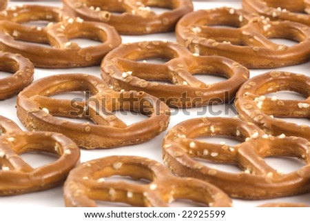 Many of pretzels isolated on white