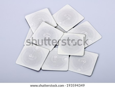 many of rfid tags and transponders - stock photo