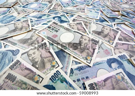 Many of the Japanese yen bank notes currency - stock photo