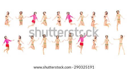 Many of the same Model Isolated over White  - stock photo