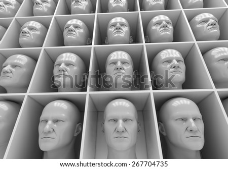 Many of the same people's heads in boxes. Uniformity,  humanity, solitude - stock photo