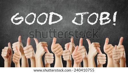 many of thumb go up good job - stock photo