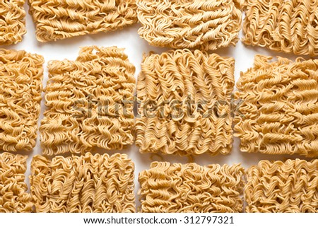 Many of uncooked Ramen Noodle, Instant noodle. - stock photo