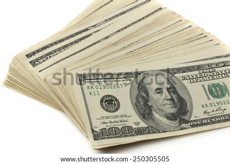 Many of US 100 dollars bank notes isolated on white background - stock photo