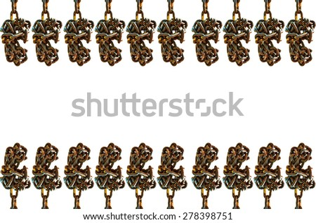 Many Old chain on  white background - stock photo