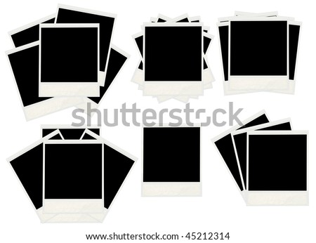 Many old  instant photos isolated on white background