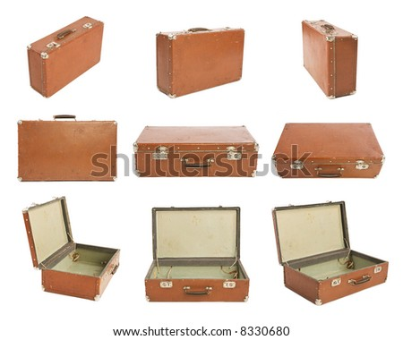 Many Old Suitcases - stock photo