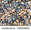 many old woodent fonts in wooden case, many letters - stock photo