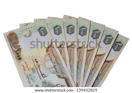 Many One Thousand UAE Dirhams currency notes - stock photo