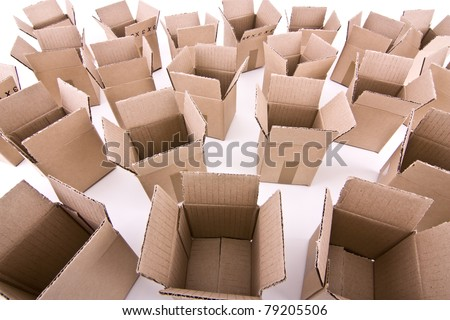 Many open cardboard boxes wide-angle view - stock photo