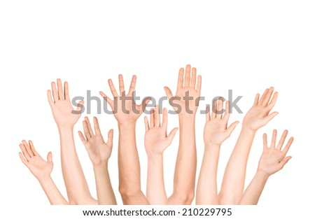 many open hand up on isolated white background,business concept - stock photo