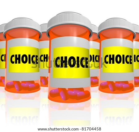 Many orange prescription bottles, each with a label that reads Choice, representing the many options available when searching for best medicine to alleviate your health care condition or ailment