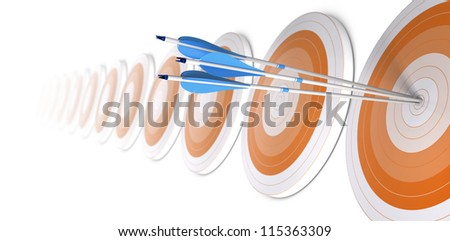 Many orange targets in a row, three blue arrows hits the first one in the center, white background - stock photo