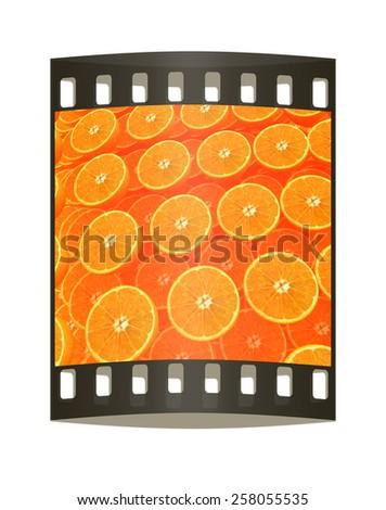 many oranges are beautiful orange background. The film strip - stock photo