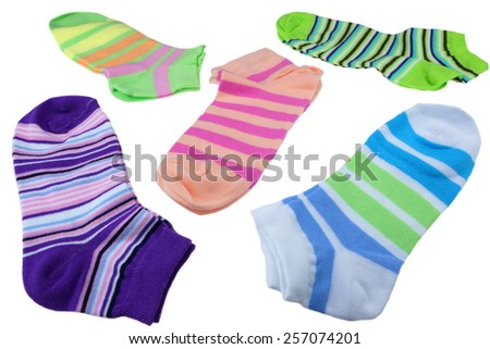 Many Pairs of Colorful Striped Socks Isolated On White Background - stock photo