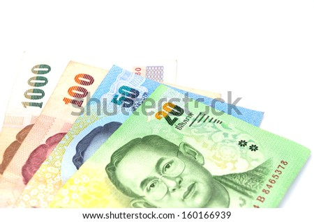Many Paper Currency on white background