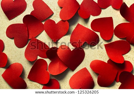 Many paper hearts, Valentine background