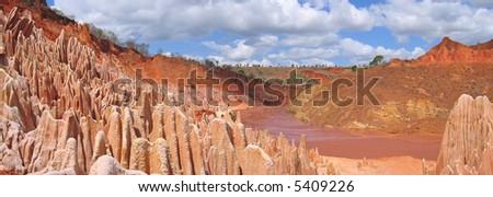 Many peaks - Red Tsingy - Antsiranana and Diego Suarez - Madagascar - Panoramique. - stock photo