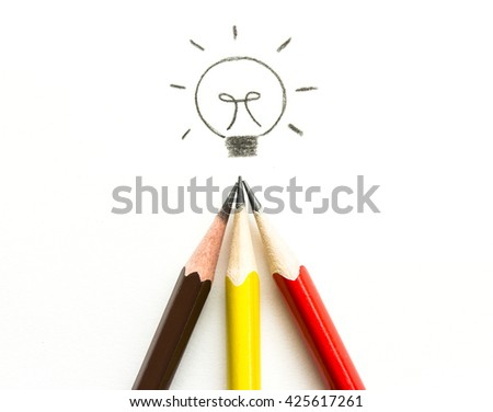 many pencil drawing light bulb on white, idea and teamwork concept. - stock photo