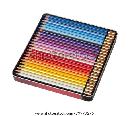 Many pencils in box, isolated over white background