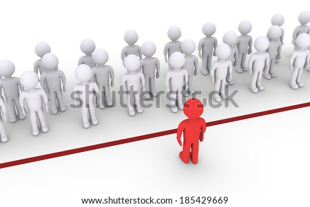 Many people are behind a line but one is facing them