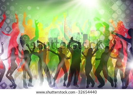 many people are dancing in a disco - stock photo