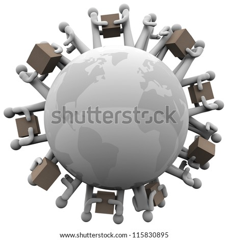 Many people carrying and shipping cardboard boxes around the world to symbolize international shipments and global business - stock photo