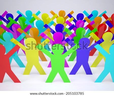 many people cartoon silhouette colored with hands in up, 3d illustration - stock photo