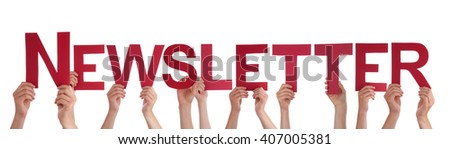 Many People Hands Holding Red Straight Word Newsletter - stock photo