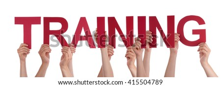 Many People Hands Holding Red Straight Word Training - stock photo