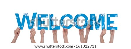 Many People Holding the Blue Word Welcome with Snowflakes, Isolated - stock photo