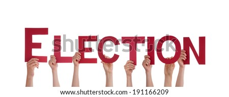 Many People Holding the Red Word Election, Isolated - stock photo