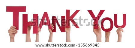 Many People Holding the Red Word Thank You, Isolated - stock photo
