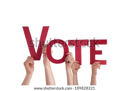 Many People Holding the red Word Vote, Isolated - stock photo