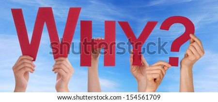 Many People Holding the Red Word Why in the Sky - stock photo