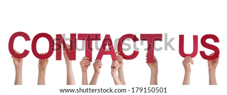 Many People Holding the Words Contact Us, Isolated - stock photo