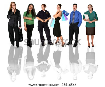 Many People of Different Backgrounds Standing Together on White Background