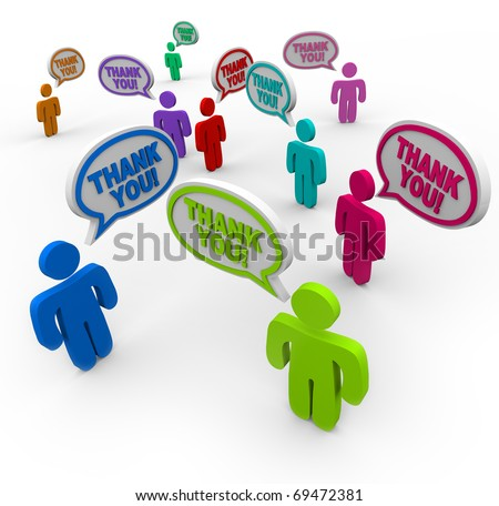 Many people speaking and saying thank you to each other - stock photo